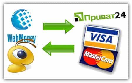 Обмен на Webmoney  на карта VISA  или MasterCard